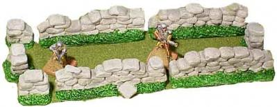 JR Miniatures: 28mm Medieval Terrain: Greystone Walls (8 Pieces)