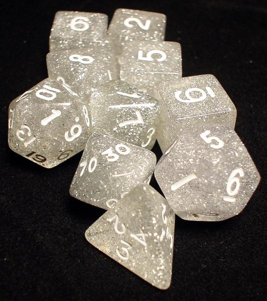 Koplow: Polyhedral 10 Dice Set: Glitter Clear/White