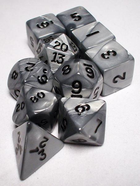 Koplow: Polyhedral 10 Dice Set: Olympic Silver/Black