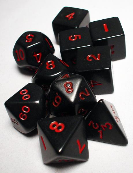 Koplow: Polyhedral 10 Dice Set: Opaque Black/Red