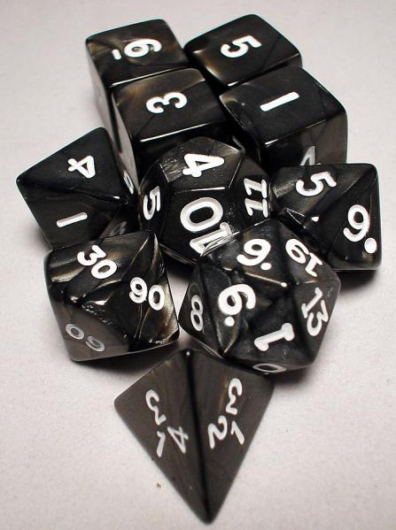 Koplow: Polyhedral 10 Dice Set: Pearl Charcoal/White