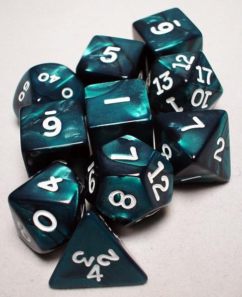 Koplow: Polyhedral 10 Dice Set: Pearl Emerald/White