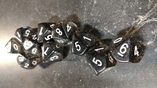 Koplow RPG Dice Sets: Glitter Black D10 10-Die Set