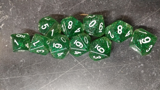 Koplow RPG Dice Sets: Glitter Green D10 10-Die Set