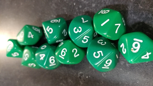 Koplow RPG Dice Sets: Opaque GreenD10 10-Die Set