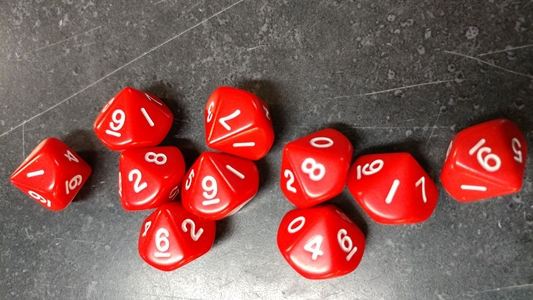 Koplow RPG Dice Sets: Opaque Red D10 10-Die Set