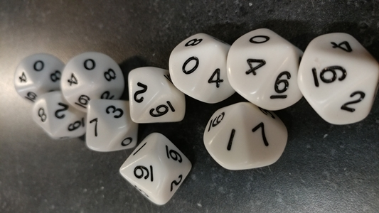 Koplow RPG Dice Sets: Opaque White D10 10-Die Set