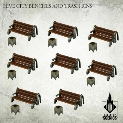 Kromlech Tabletop Scenics: Hive City Benches & Trash Bins
