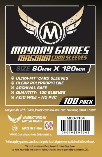 Mayday: Large Card Sleeves: 80mm X 120mm (Black Backed)
