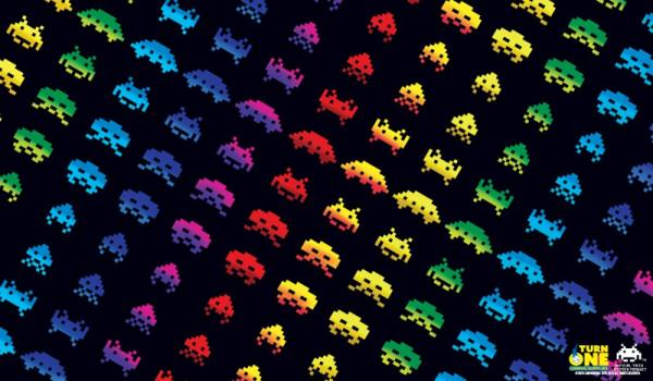 Space Invaders Rainbow Attack Play Mat