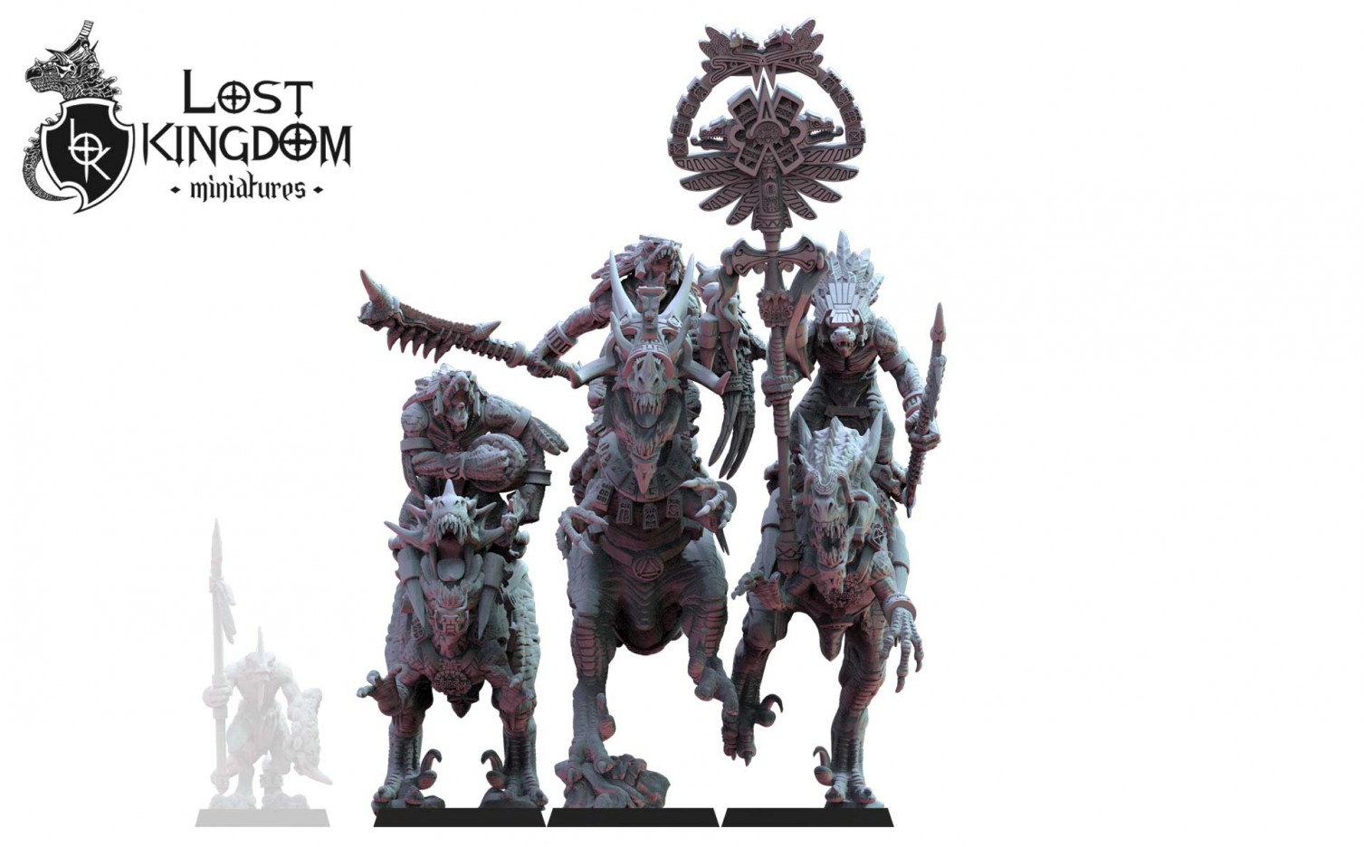 Lost Kingdom Miniatures: EZOCAMATL KNIGHTS COMMAND GROUP