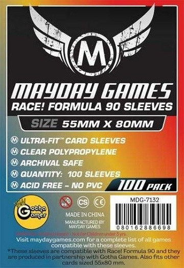 Mayday Games Sleeves: Standard - Race! Formula 90 Sleeves 55mm x 80mm (100ct)