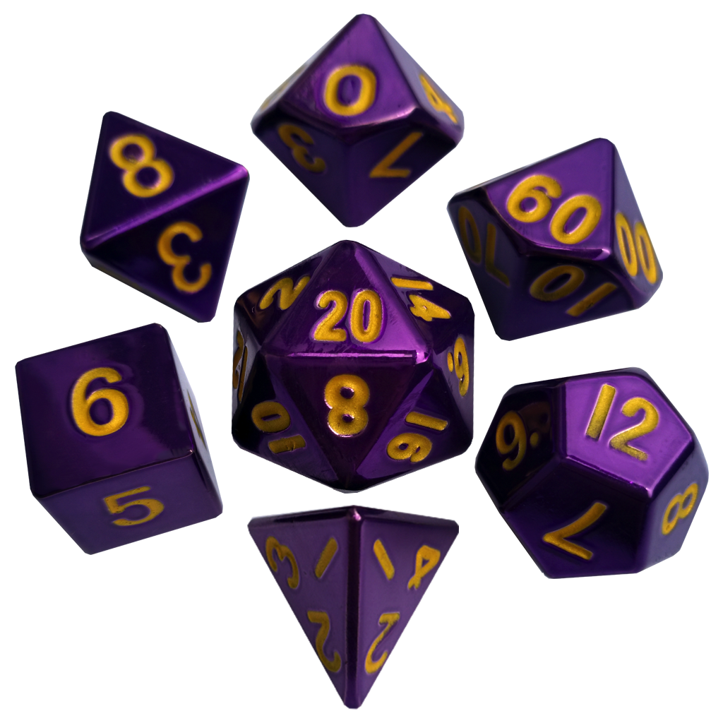 Metal Polyhedral Dice Set 16mm: Purple with Gold Numbers
