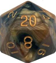 Metallic Dice Games: 35mm Mega Acrylic D20: Combo Attack Black/Yellow with Gold Numbers