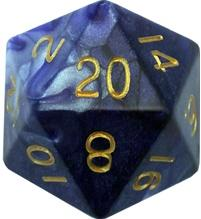 Metallic Dice Games: 35mm Mega Acrylic D20: Combo Attack Blue/White with Gold Numbers