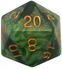 Metallic Dice Games: 35mm Mega Acrylic D20: Combo Attack Green/Light Green with Gold Numbers