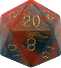 Metallic Dice Games: 35mm Mega Acrylic D20: Combo Attack Orange/Brown with Gold Numbers