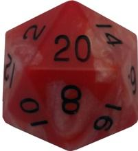Metallic Dice Games: 35mm Mega Acrylic D20: Combo Attack Red/White with Black Numbers