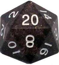 Metallic Dice Games: 35mm Mega Acrylic D20: Ethereal Black with White Numbers