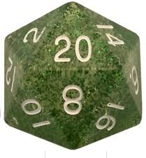 Metallic Dice Games: 35mm Mega Acrylic D20: Ethereal Green with White Numbers
