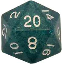 Metallic Dice Games: 35mm Mega Acrylic D20: Ethereal Light Blue with White Numbers