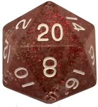 Metallic Dice Games: 35mm Mega Acrylic D20: Ethereal Light Purple with White Numbers