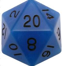 Metallic Dice Games: 35mm Mega Acrylic D20: Glow Blue with Black Numbers