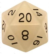 Metallic Dice Games: 35mm Mega Acrylic D20: Glow Clear with Black Numbers