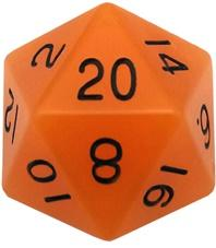 Metallic Dice Games: 35mm Mega Acrylic D20: Glow Orange with Black Numbers