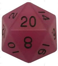 Metallic Dice Games: 35mm Mega Acrylic D20: Glow Purple with Black Numbers