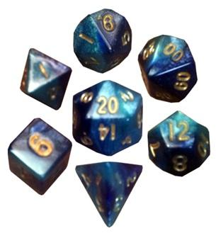 Metallic Dice Games: Mini Polyhedral Dice Set: Dark Blue/Light Blue with Gold Numbers