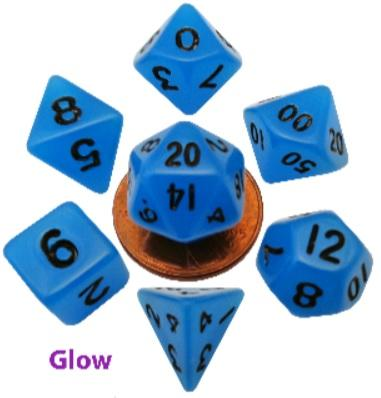 Metallic Dice Games: Mini Polyhedral Dice Set: Glow Blue with Black Numbers