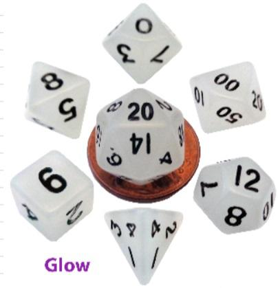 Metallic Dice Games: Mini Polyhedral Dice Set: Glow Clear with Black Numbers