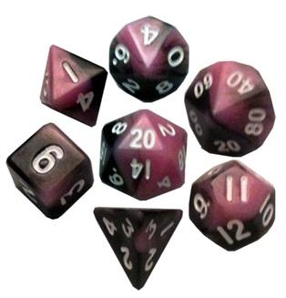 Metallic Dice Games: Mini Polyhedral Dice Set: Pink/Black with White Numbers