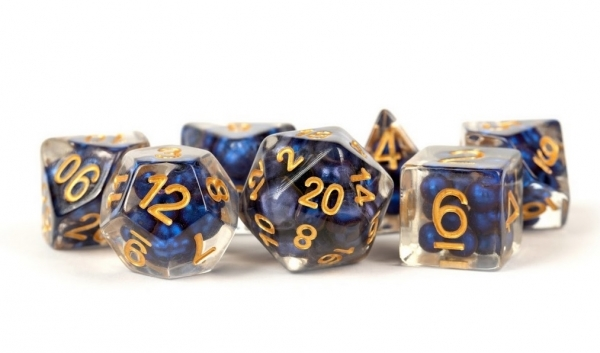 Metallic Dice Games: Resin Dice (16mm): Pearl- Royal Blue w/ Gold Numbers