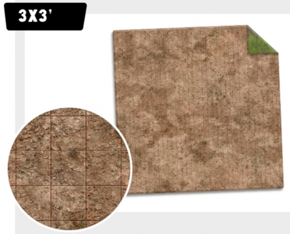 Monster Game Mat: Broken Grassland / Desert Scrubland (3x3) [Adventure Grid]