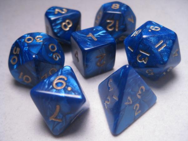 Mystic Keeper Dice: Dragonscale Blue Polyhedral Set (7)