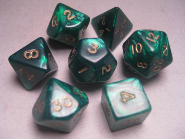 Mystic Keeper Dice: Dragonscale Green Polyhedral Set (7)