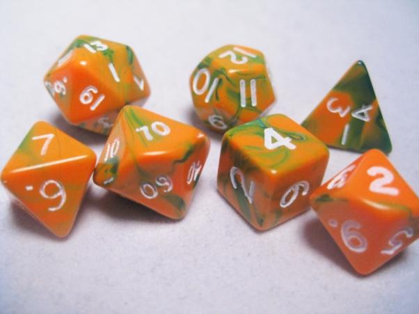 Mystic Keeper Dice: Fusion Orange/ Green Polyhedral Set (7)