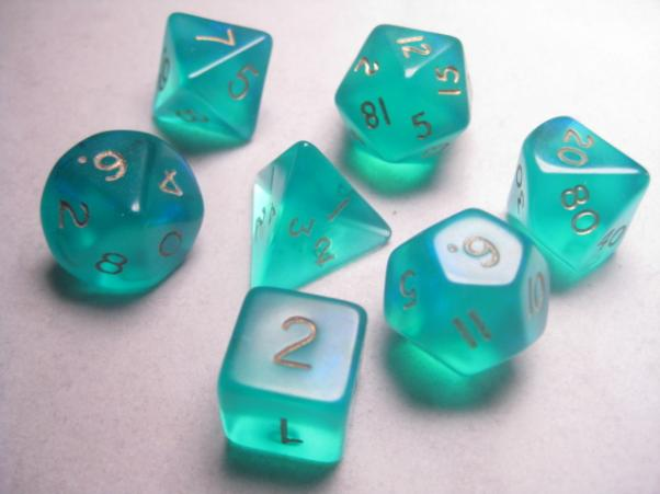 Mystic Keeper Dice: Moonstone Teal Polyhedral Set (7)