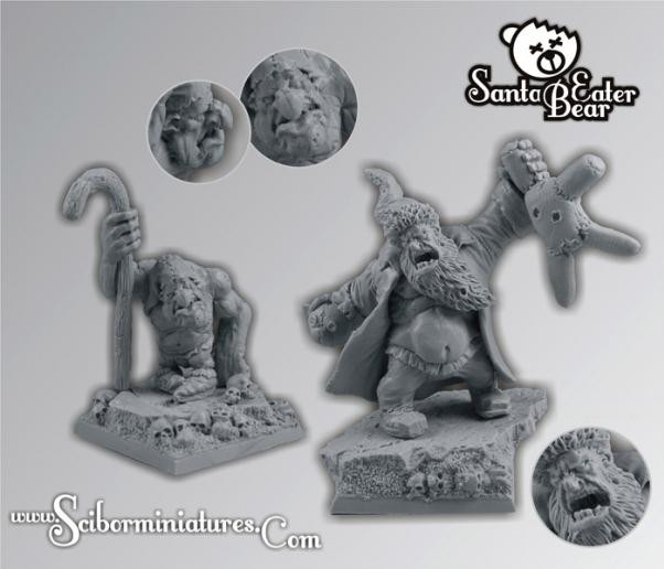 Scibor Monstrous Miniatures: Ogre Santa with Elf (2)