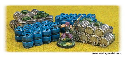 Scotia Grendel: 28mm Sc-Fi Terrain: Oil Drums and Jerry Cans