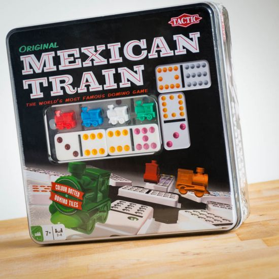 Original Mexican Train Dominoes Tin [Damaged]
