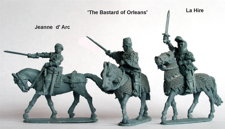 Perry: 28mm Agincourt to Orleans 1415-1429: French- Jeanne d Arc, La Hire, Bastard of Orleans (All Mounted)