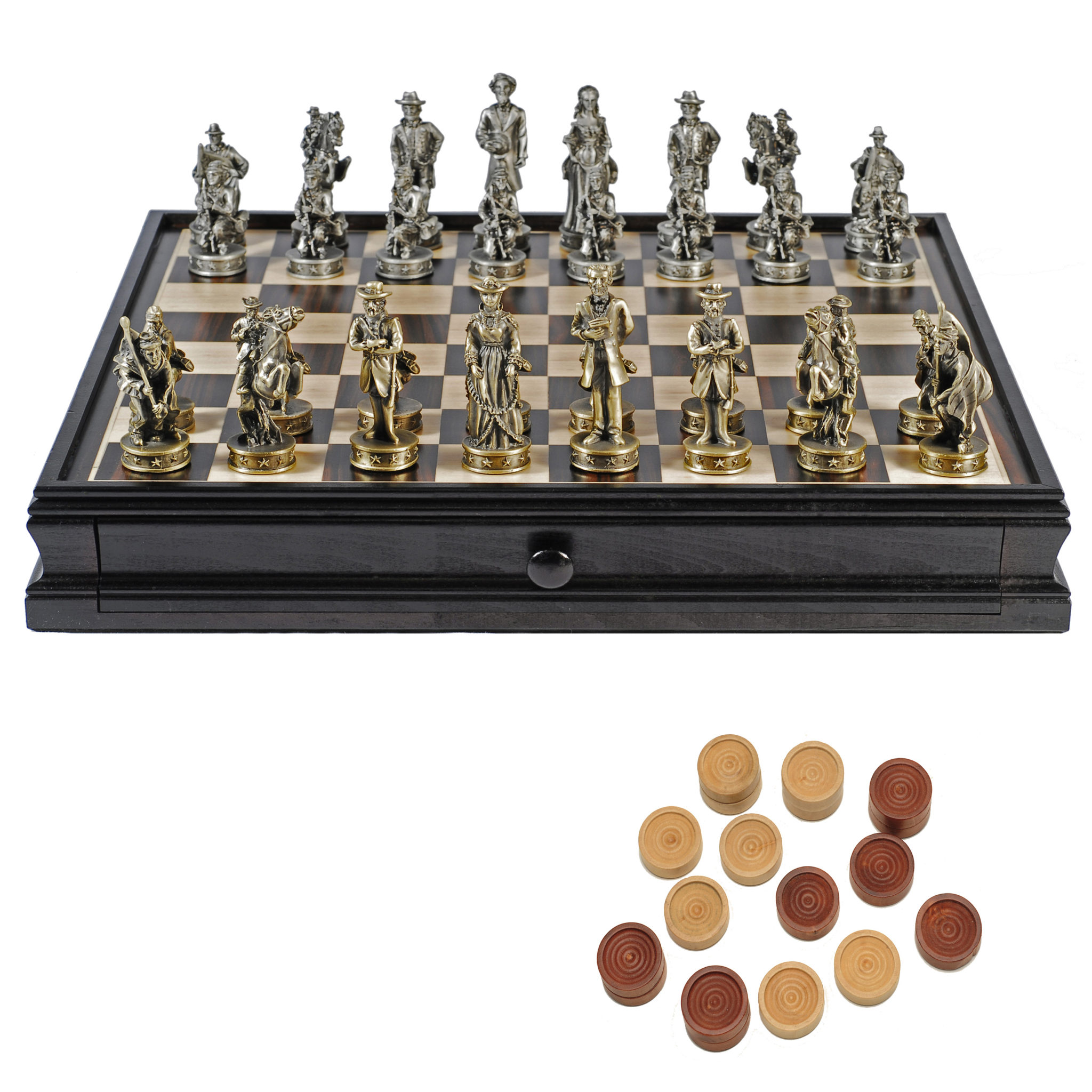 "Pewter Civil War Chess & Wooden Checkers 15"" Set"