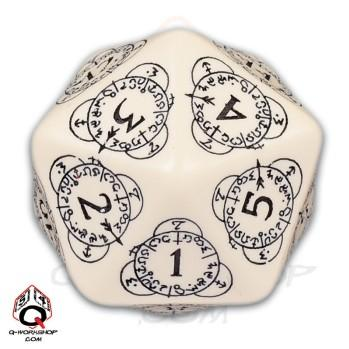 Q-Workshop: 20 Sided Dice- Exotic Beige & Black Card Game Level Counter