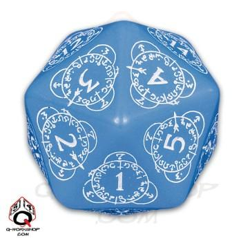 Q-Workshop: 20 Sided Dice- Exotic Blue & White Card Game Level Counter