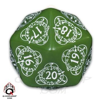 Q-Workshop: 20 Sided Dice- Exotic Green & White Card Game Level Counter
