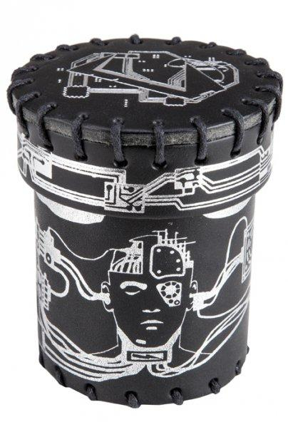 Q-Workshop: Dice Cup: Cyberpunk Leather (Black & Silver)