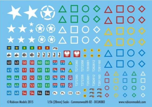 Rubicon Models Decals: Allied- Commonwealth Generic Set 2